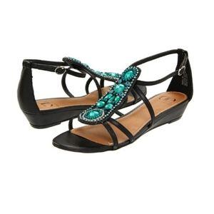 Kelsi Dagger AMARA Jeweled Beaded Wedge Sandal 8.5